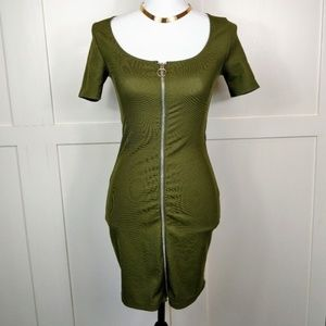 NWOT Zara Trafaluc Ribbed Zip Up Olive Mini Dress